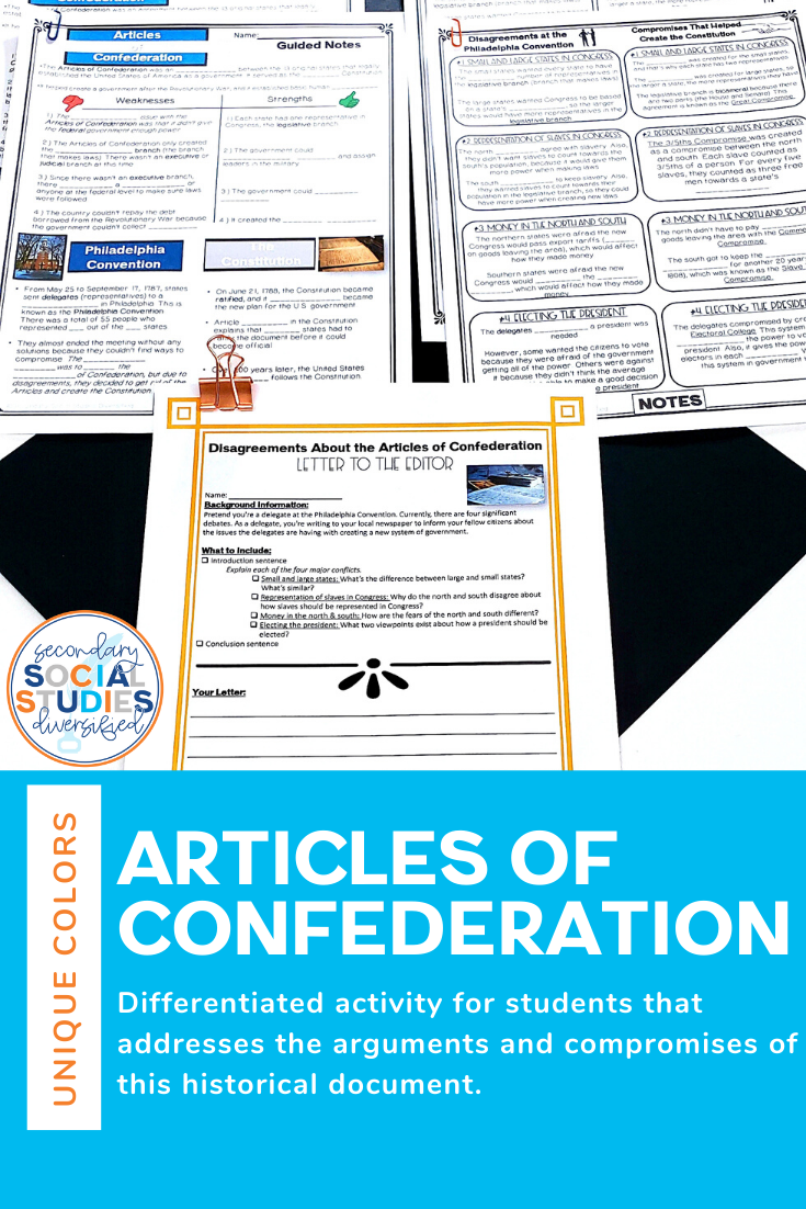 Articles Of Confederation Activities Writing Activities Social Studies Middle School Critical Thinking Activities [ 1102 x 735 Pixel ]