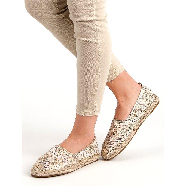 Lucky Shoes Koronkowe Espadryle W Kwiaty Brazowe Espadrilles Flat Espadrille Shoes