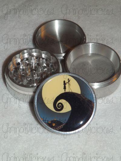 jack skellington nightmare before christmas 4 piece cnc aluminum pollen herb grinder grinders - Nightmare Before Christmas Pipe