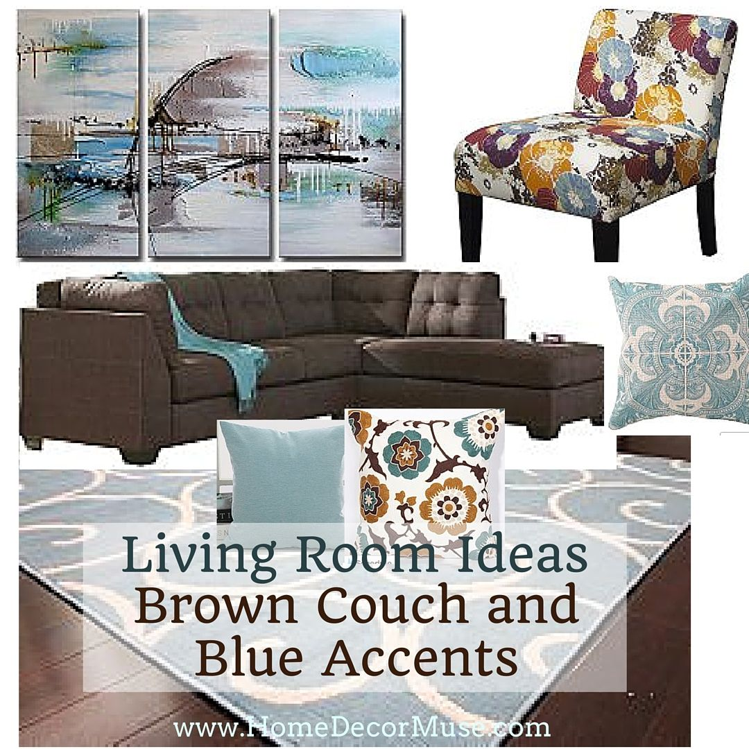Inspiration For Your Gorgeous Living Room With A Chocolate Brown Sectional  And Light Blue Accents.