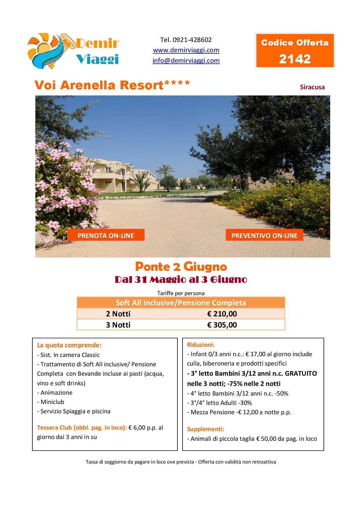 Voi Arenella Resort**** - Siracusa Ponte 2 Giugno 2018 Per info e ...