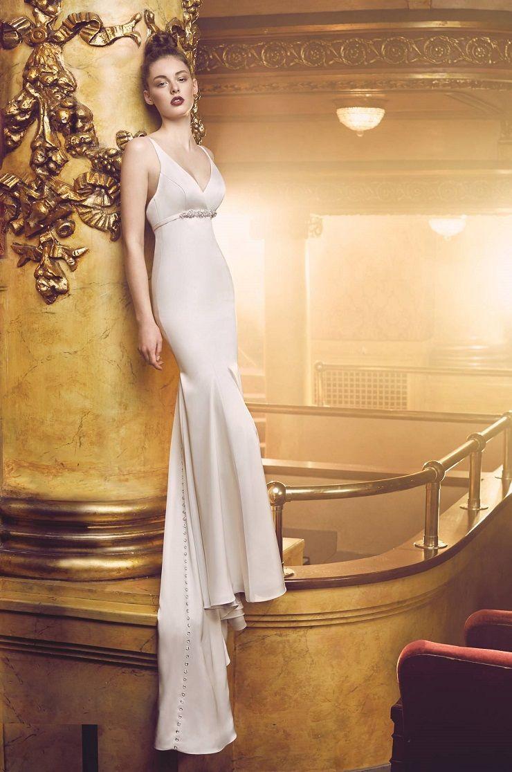 Satin Wedding Dress. Sleeveless crossover V-neckline | Paloma Blanca style 4701 wedding dress | itakeyou.co.uk  #bridal #wedding #weddingdress #weddinggown #bridalgown #dreamgown #dreamdress #engaged #inspiration #bridalinspiration #weddinginspiration #weddingdresses