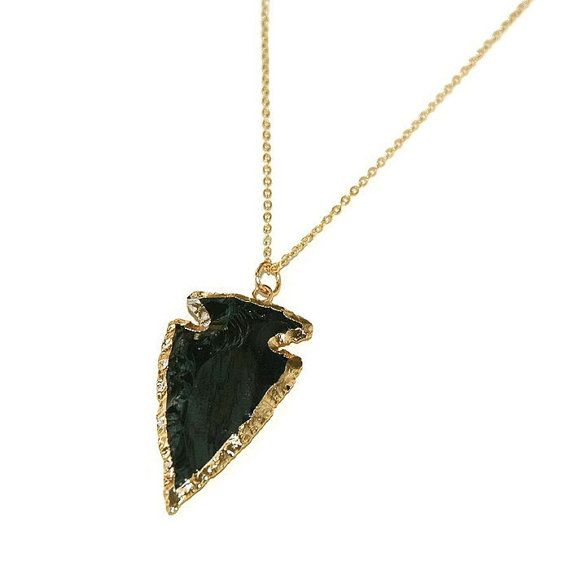 Black Obsidian Arrowhead necklace gold plated by AshbeeJewelry