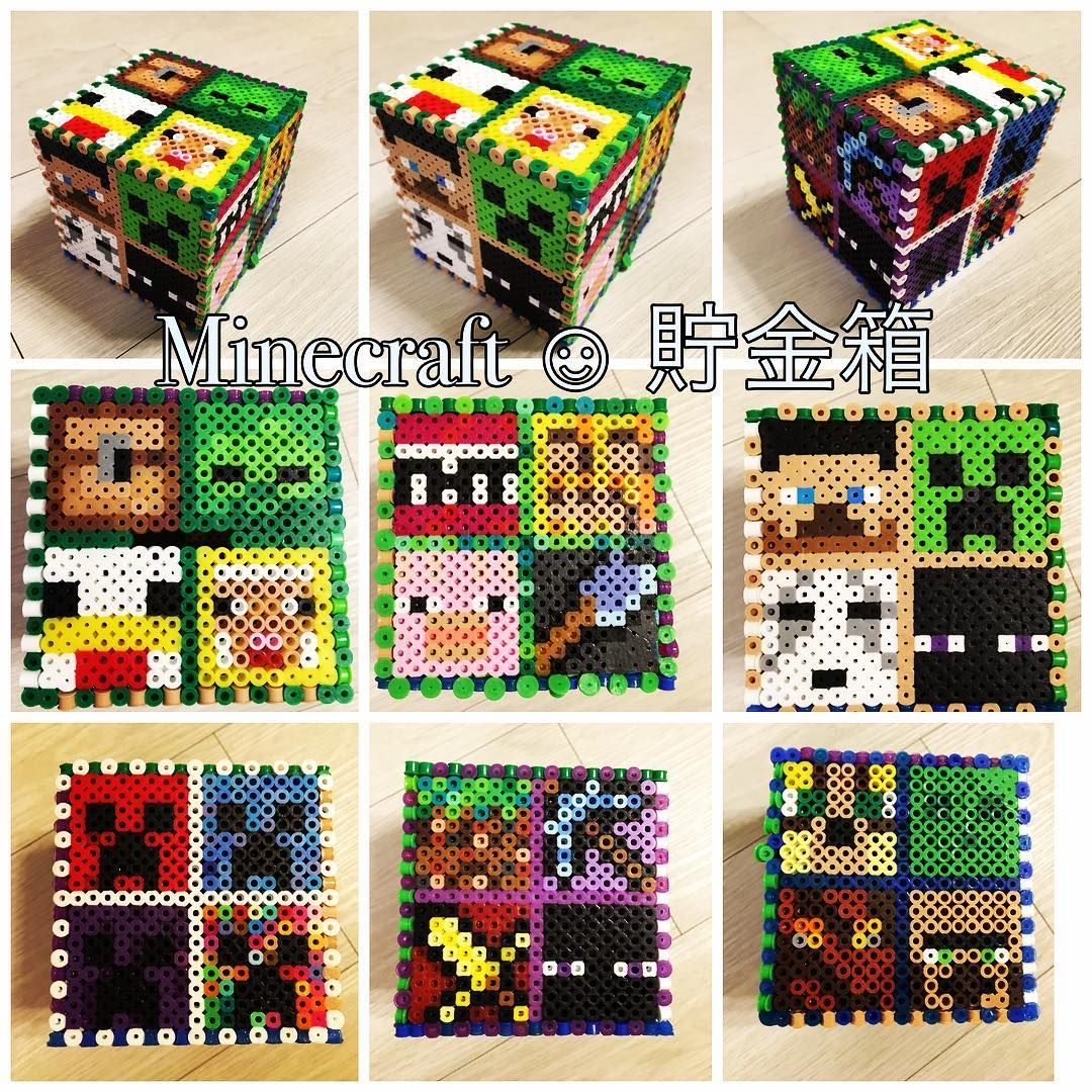 3d minecraft money box perler beads by kwaco00san a perler bead 3d minecraft money box perler beads by kwaco00san