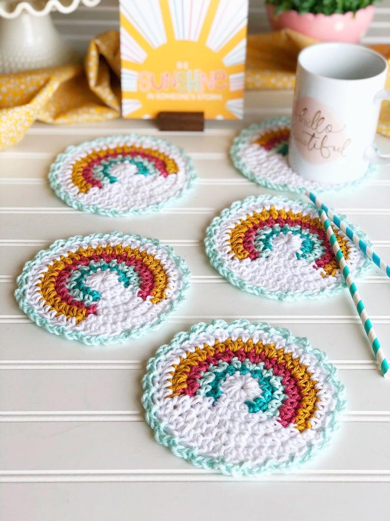 PATTERN for Rainbow Crochet Coaster rainbow coaster cotton yarn