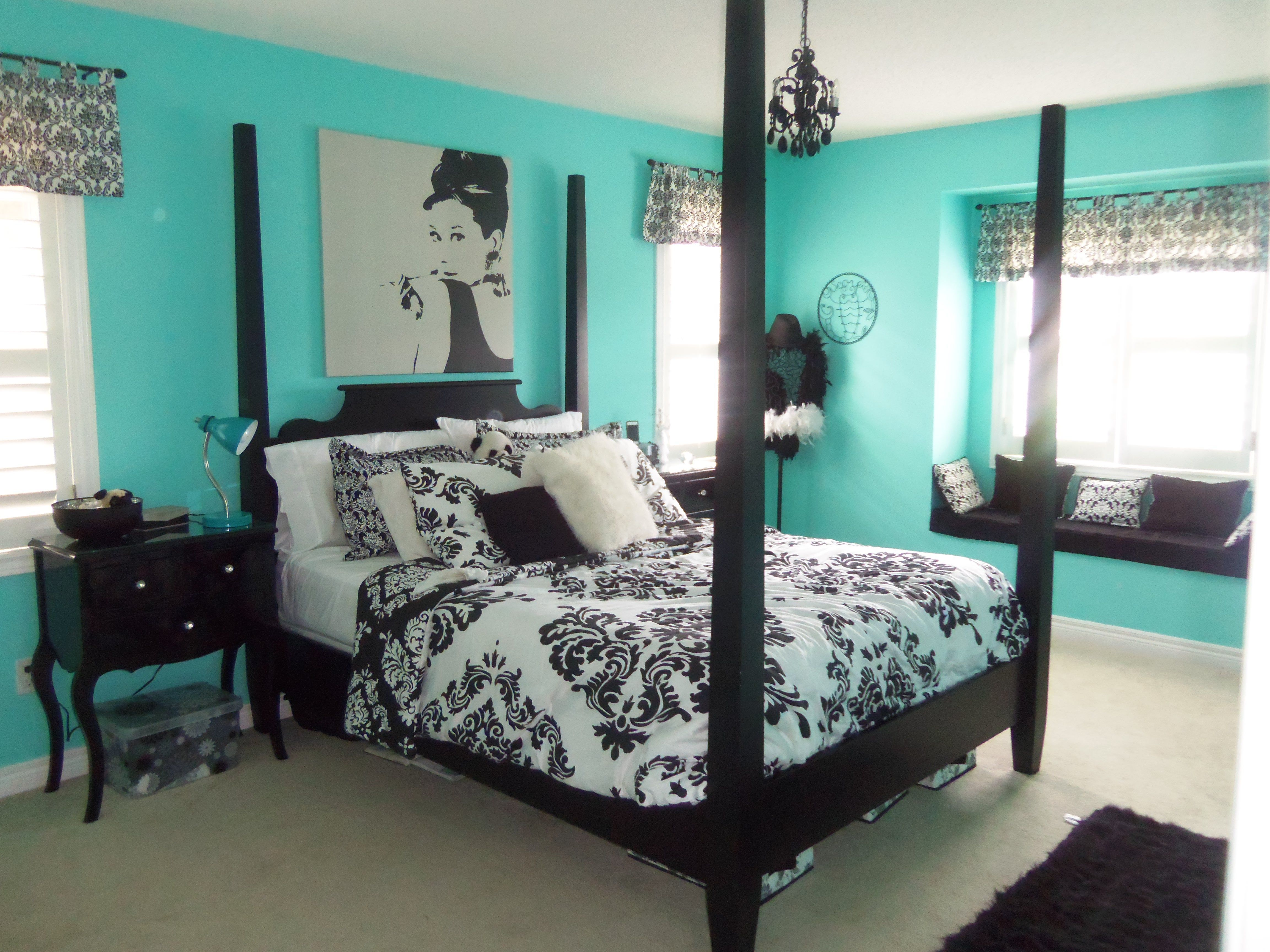 Bedroom With A Beautiful Green Or Teal Feature Accent Wall And