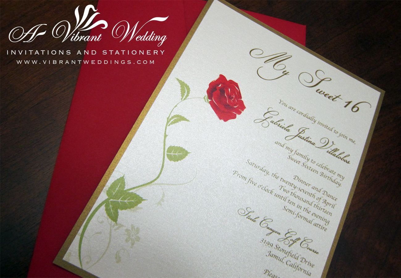 Sweet 16 Birthday Invitation Beauty Amp The Beast Theme With A Single Red Rose Design