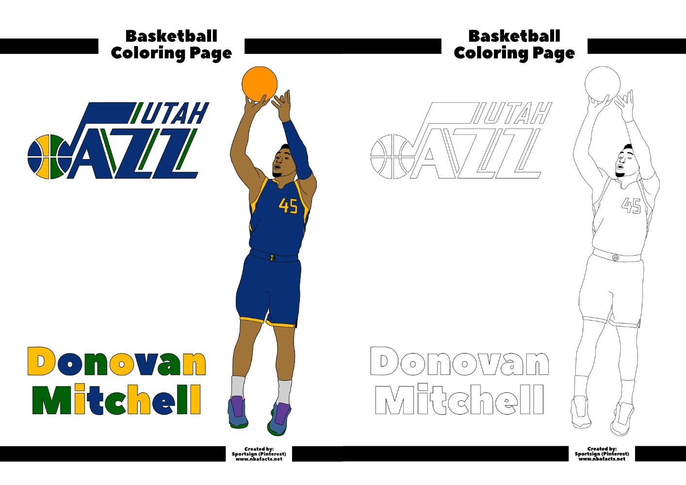 Nba Player For The Utah Jazz Donovan Mitchell This Is A Free Colouring Sheet For Basketball Fans If You Want Th In 2020 Utah Jazz Coloring Pages Free Coloring Pages