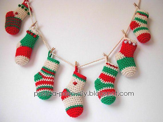 Amigurumis Navidad Paso A Paso : Calcetines para navidad tutorial paso a paso navidad y