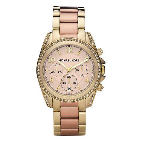 Buy Michael Kors MK6316 Women's Blair Chronograph Embellished Bracelet Strap Watch, Gold/Rose Gold Online at johnlewis.com