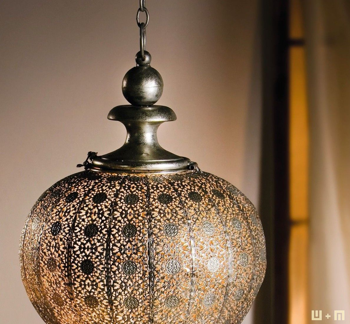 Metall-Laterne, Orientalisch, Antiksilber-Finish, Feines