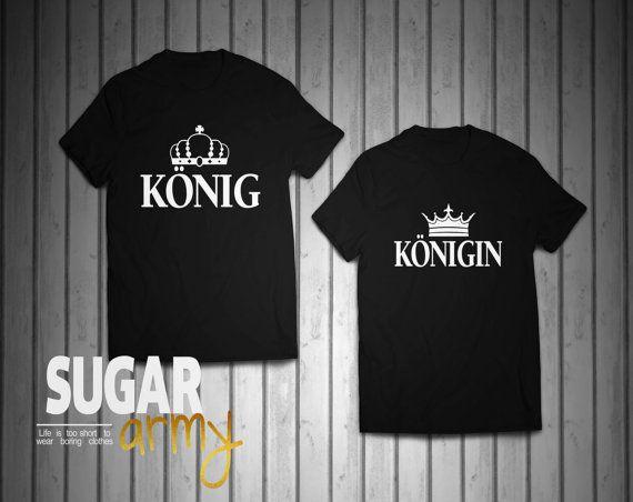 Pärchen tshirts, König Königin Pärchen T-shirt, KING and QUEEN set of t-shirts for couples, Shirts für Paare, Paare Shirt, 100% Cotton tees