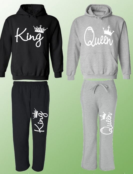 4baf79eaa8 King Queen Couple Matching Set Hoodie and Sweatpants His Queen and hers King  Set | Clothing, Shoes & Accessories, Unisex Clothing, Shoes & Accs, ...