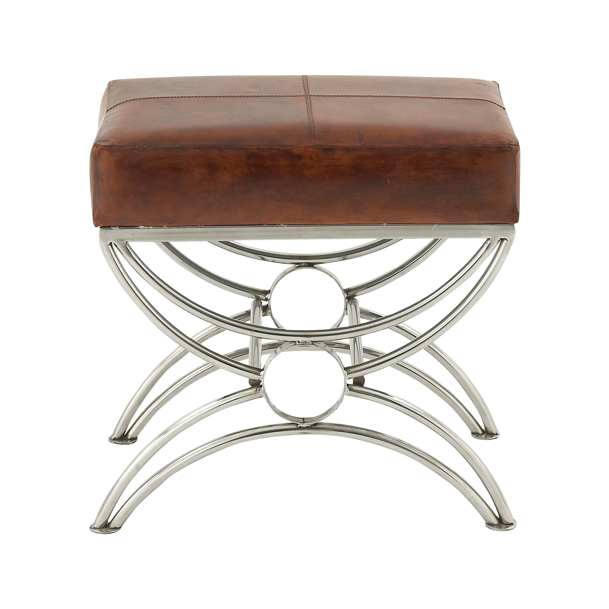 Steel leather foot stool adorable steel leather foot stool brown