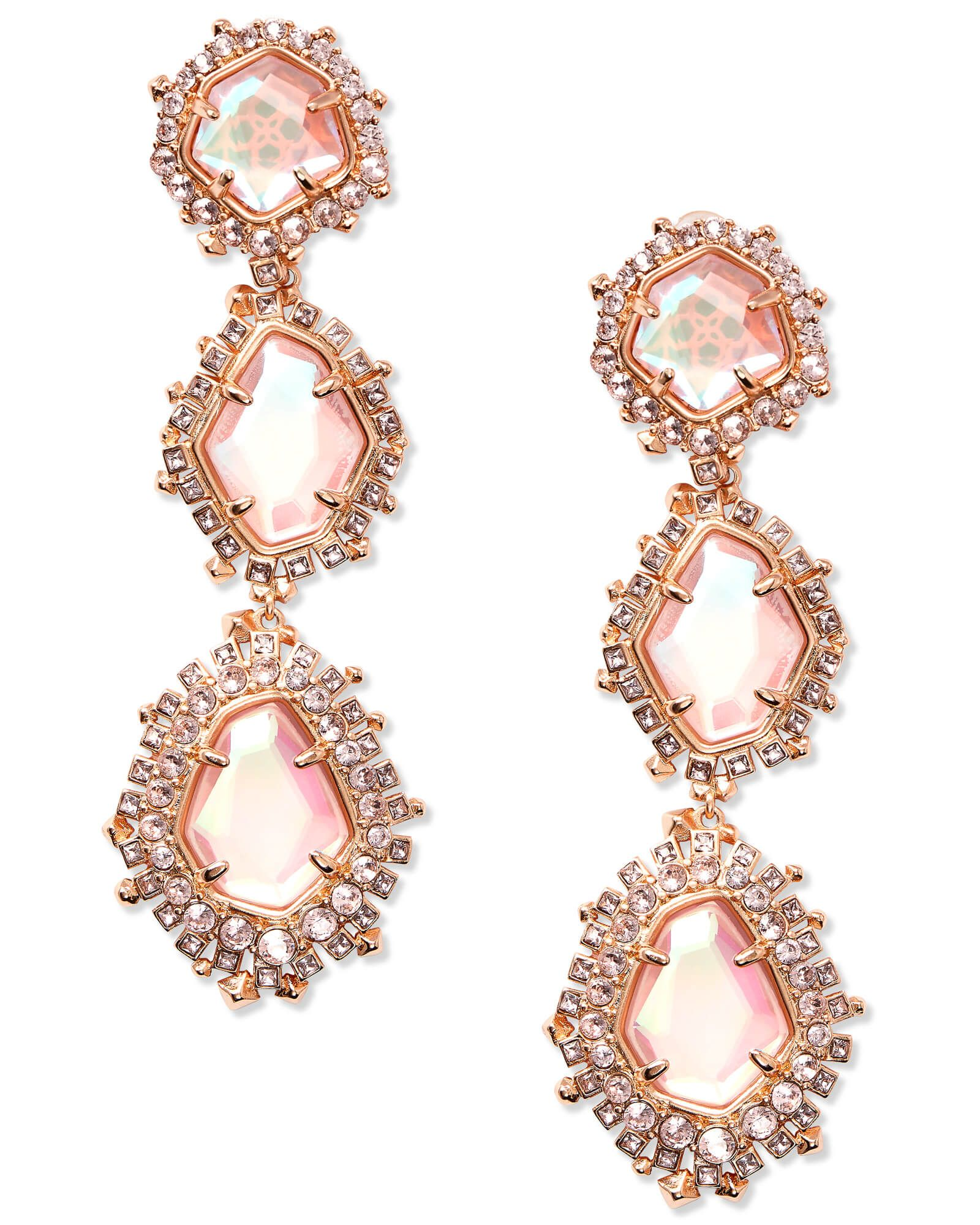 2b9c72990 Aria Rose Gold Statement Earrings in Blush Dichroic Glass | Holiday ...