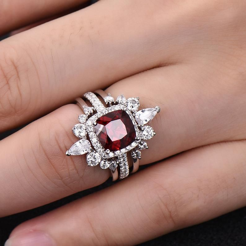 Unique Wedding Ring Set 8mm Cushion Red Garnet Crown Curved Cz Etsy Wedding Ring Sets Unique Wedding Rings Unique Engagement Ring White Gold