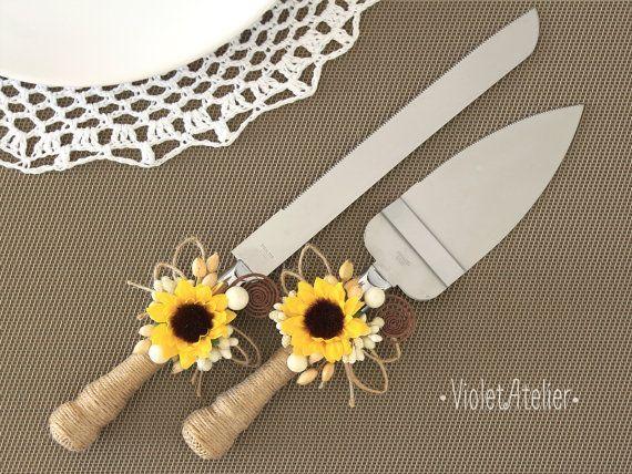 Sunflower Wedding Cake Cutting Set Sunflower Rustic