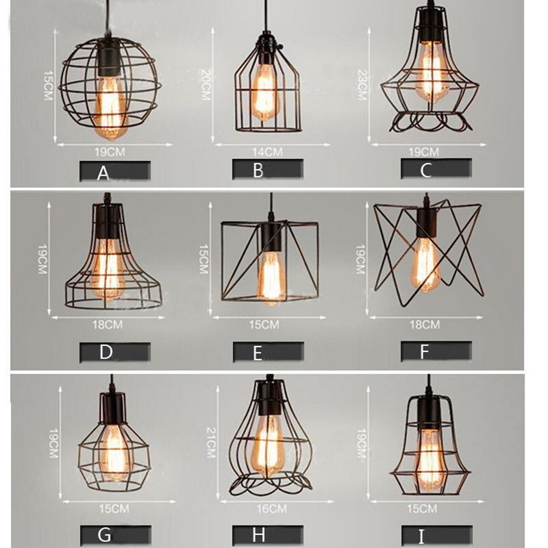 official photos 86828 85b87 Mixed vintage edison metal wire cage hanging lamp shade ...