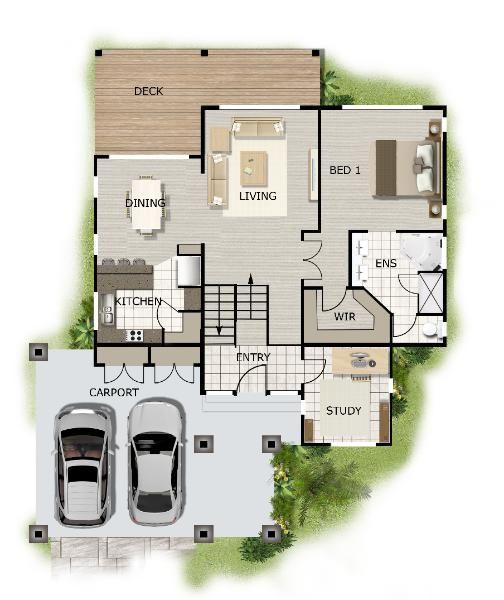 4 bedroom sloping land design 2 storey plan 268kr 4bed - 4 bedroom split level floor plans ...
