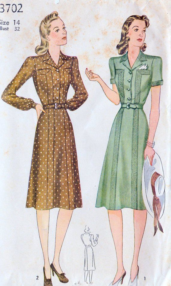 Gorgeous 1940s dress pattern with built-in boob pockets!