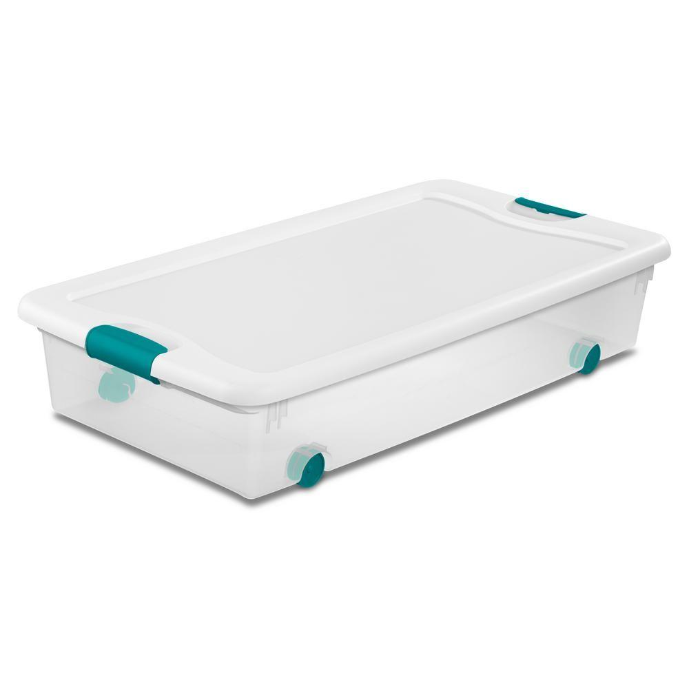 Sterilite 56 Qt Latching Wheeled Storage Box 14988004 Decorative Storage Storage Under Bed Storage Boxes
