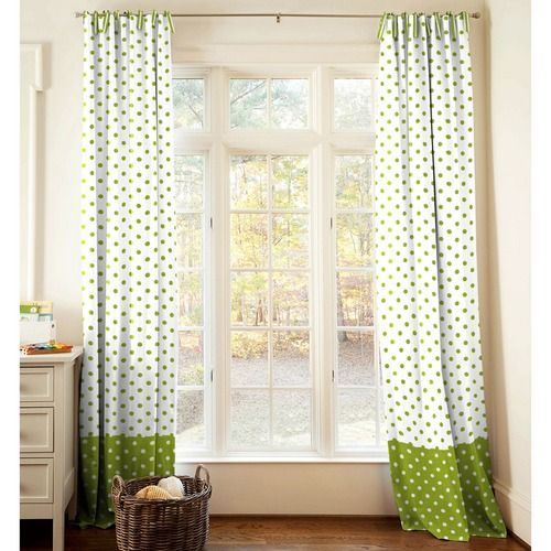 Lime And White Dots And Stripes Drapes With Trim Gender