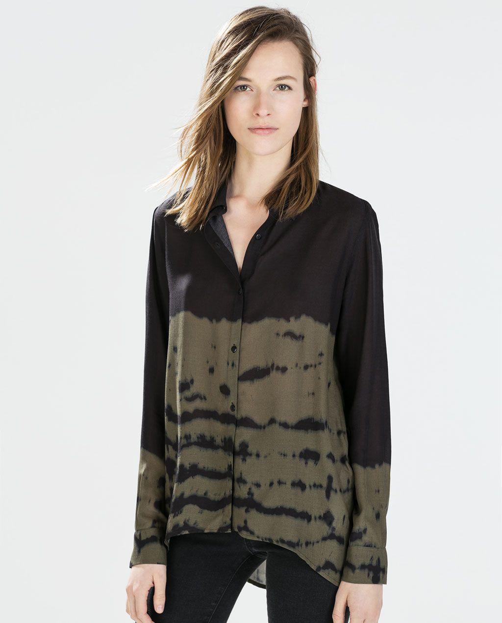 Zara kolekcja ss koszula farbowana metodĄ tie u dye printy w