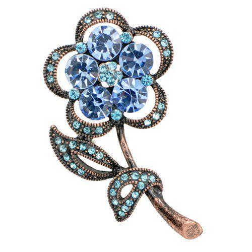 Fantasyard Vintage Style Blue Flower Brooch Pin