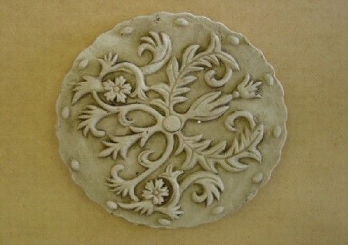 Decorative Floral Design Stepping Stone Plaster Concrete Mold 7075 Moldcreations
