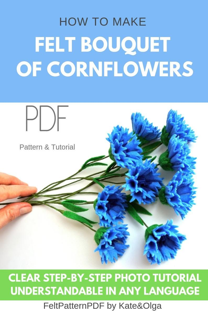 Corn Flower Faux Bluebottle Felt Flower Pattern Spring Etsy In 2020 Felt Flowers Patterns Felt Flowers Diy Felt Flower Tutorial