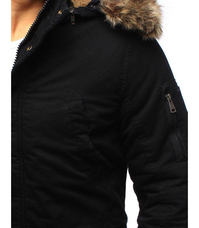 9cc90821cd09 Čierna pánska zimná bunda Francesco párka