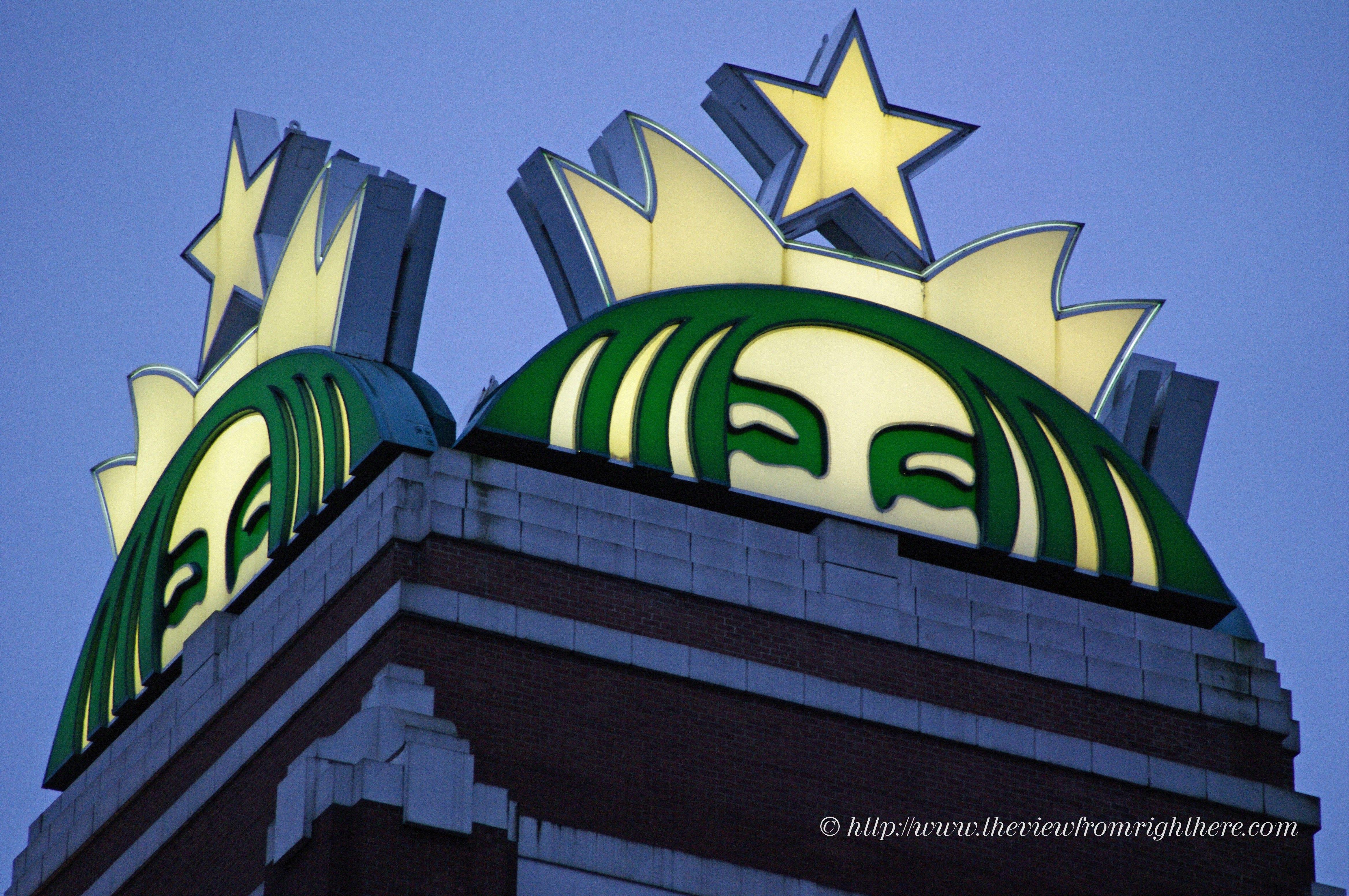 Sirens Atop The Starbucks Tower Seattle Sodo District Seattle Coffee Starbucks Seattle Starbucks