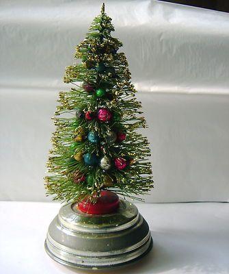 Vintage Bottle Brush Christmas Tree Musical Revolving Mercury Glass