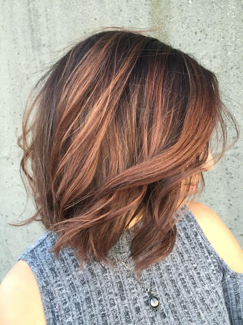 Lob With Auburn Baylage Hair Hair