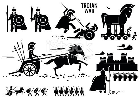 Set Of Human Pictogram Representing The Trojan War Historical