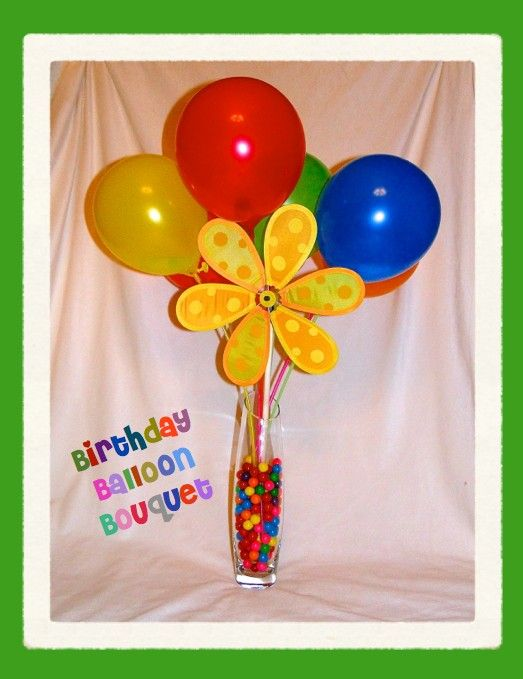BIRTHDAY BALLOON BOUQUET 1 Dollar Store Vase Pkg Of Balloons On Sticks