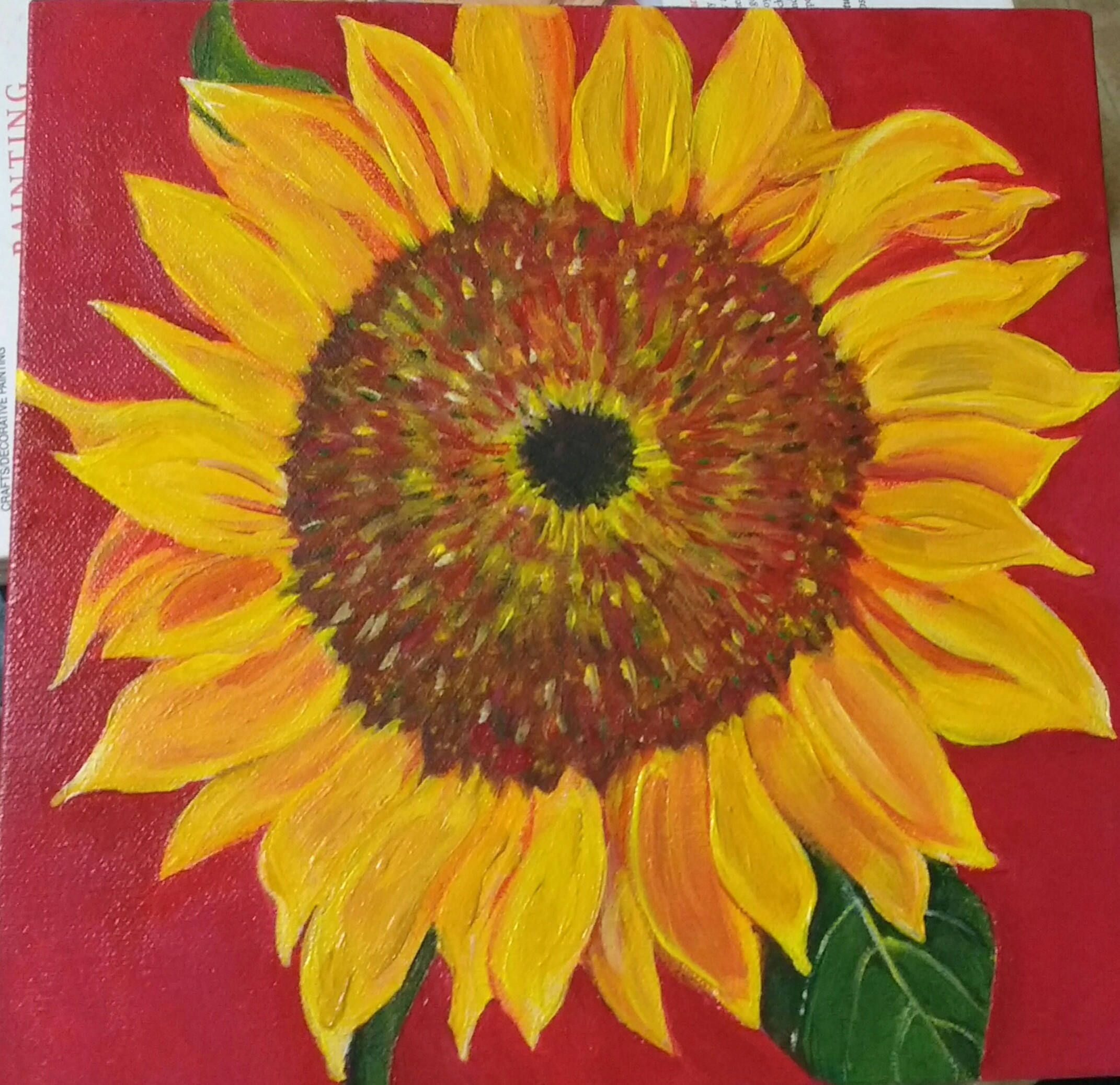 Sunflower painting, sunflower acrylic painting canvas art 10 x 10 ...