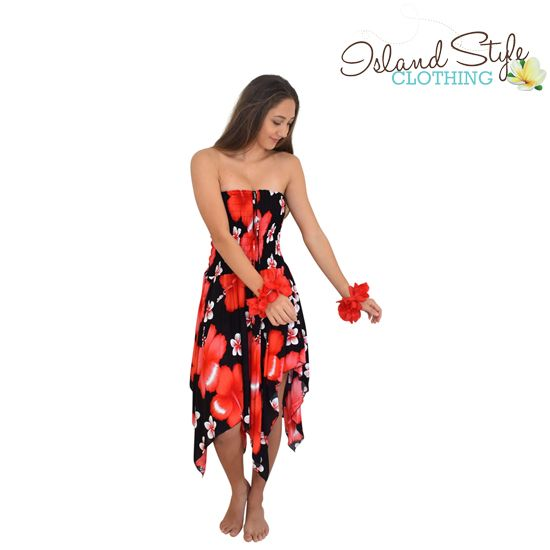 67c68302c3 Pretty Pixie dress - Red Hibiscus  amp  Plumeria with black base - Hawaiian  Style http
