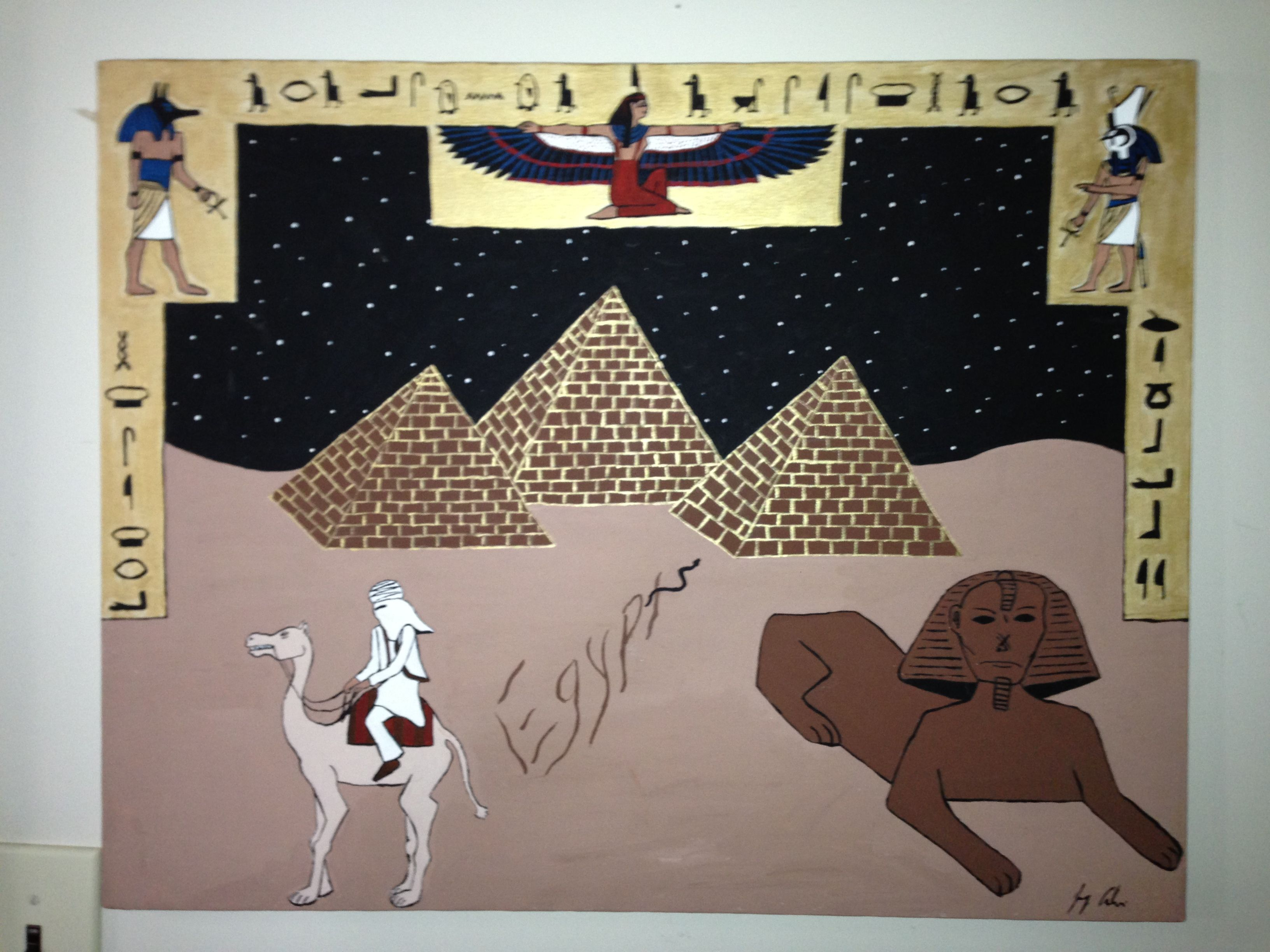 """Egypt"" The Lonesome Traveler Series acrylic on canvas H 22""   W 28"" for purchase contact JoeyCalveri@gmail.com"