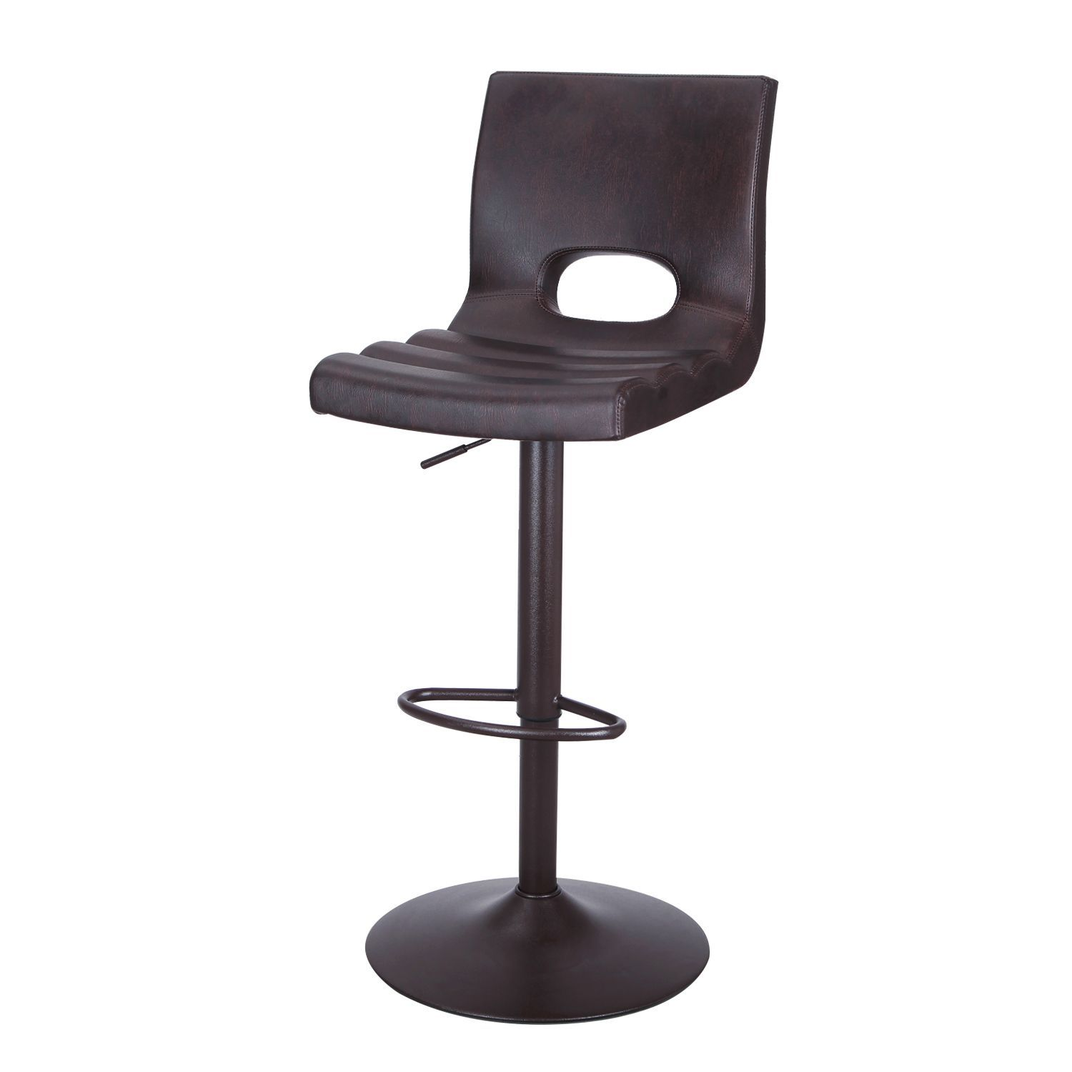 Adeco Adjustable Hydraulic Bar Stools Low Back Accent Chair Brown