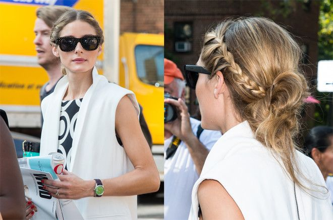 Olivia Palermo's braided, messy knot is as day-to-night friendly as it gets.