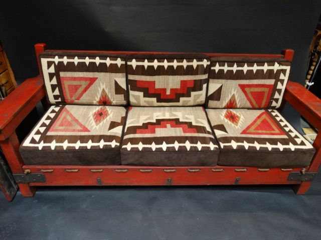 Imperial Sofa Red With Navajo Cushions · Hacienda StyleFurniture ...