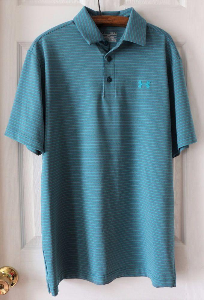 cd03cc7fc Men's UNDER ARMOUR Heat Gear Loose Fit Golf Polo Shirt Blue Gray Striped  Medium #UnderArmour #ShirtsTops