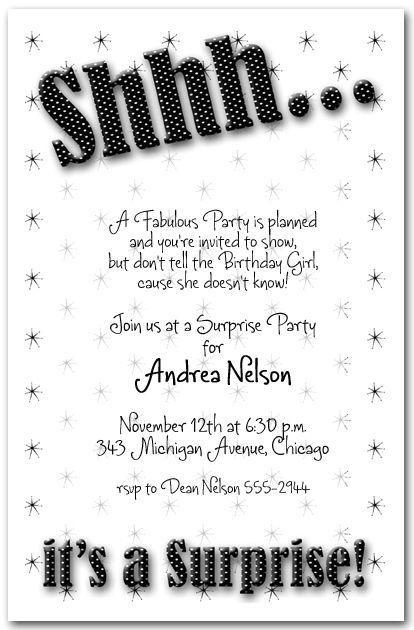 Adult Birthday Invitations Shhh Black Polka Dot Surprise Party