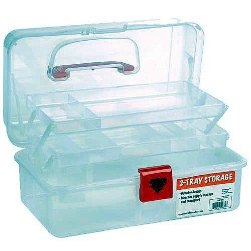 Artist Essential 12 Inch Plastic Art Supply Craft Storage Tool Box,  Semi Clear
