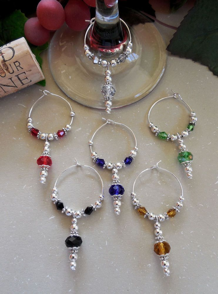 6 Sparkle & Shine Beaded Wine Glass Charms Inexpensive Holiday Gift Idea   Wine, Beads and Glass