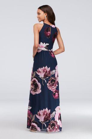 c0946e73c8 Floral Print Chiffon Halter Dress with Beaded Belt Style 9171244 ...