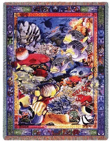Beach Themed Throw Blanket Best Undersea Paradise Sea Life Tapestry Throw Blanket Coastal Beach