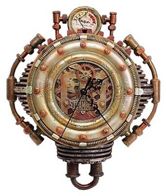 Steampunk Wall Clock Hand Painted In Silver Gold And Copper
