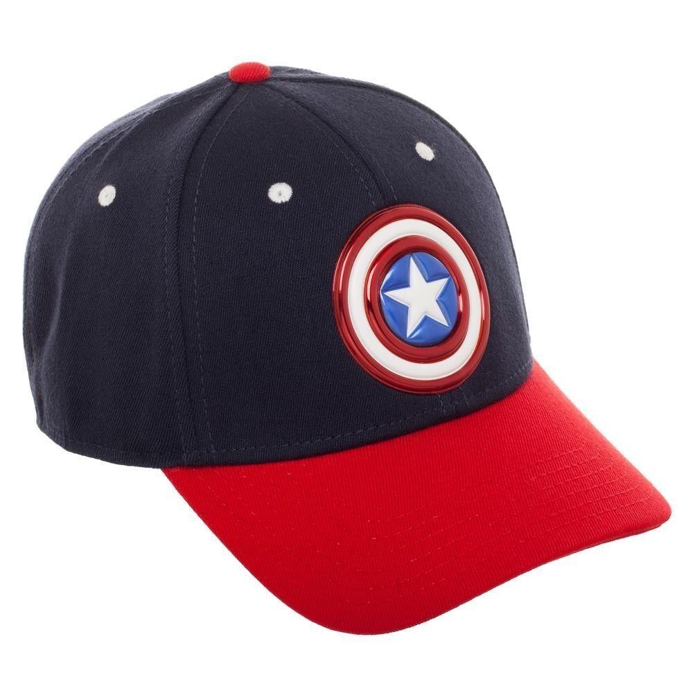 392f93678e54c Captain America Shield Flex-Fit Baseball Cap Hat Official AVENGERS Marvel  Comics  Bioworld  BaseballCap
